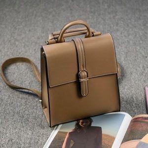 Women's buckle leather backpacks